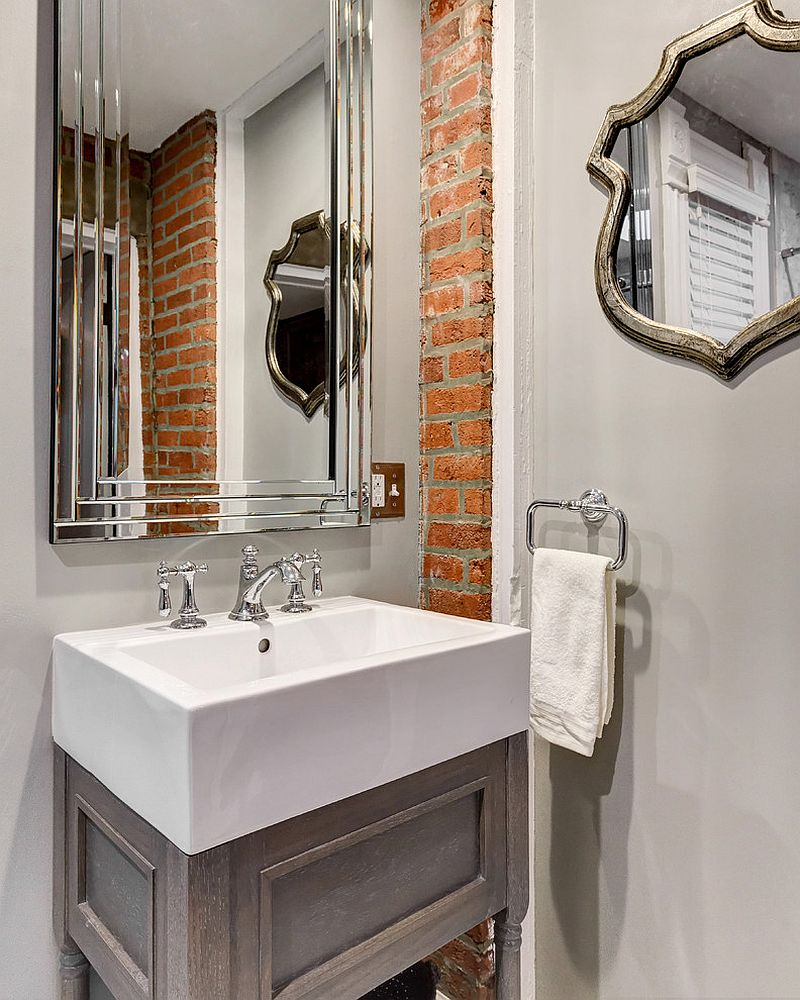 Adjust the exposed brick wall section to the size of the bathroom [Design: Reliance Design]