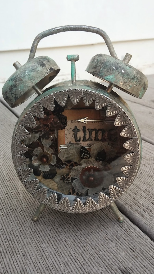 Altered Tim Holtz clock with a vintage 'time' theme