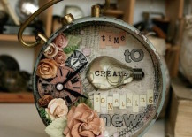 Altered alarm clock that says time to create something new 217x155 15 Altered Vintage Alarm Clocks for Some Crafty DIY Inspiration