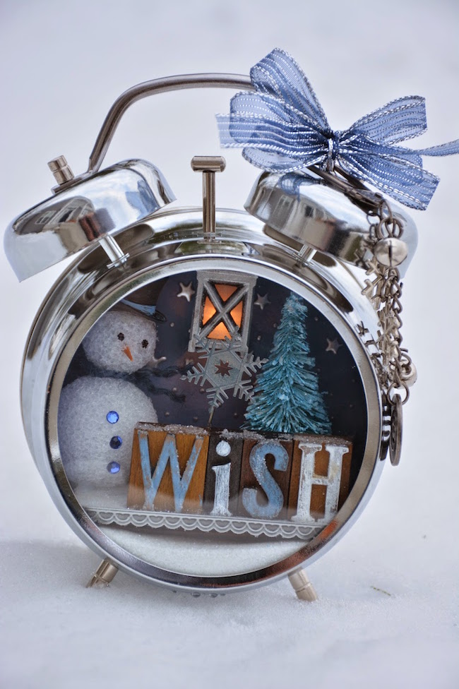 Altered alarm clock with a wintery holiday theme
