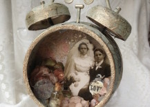Altered alarm clock with vintage wedding theme