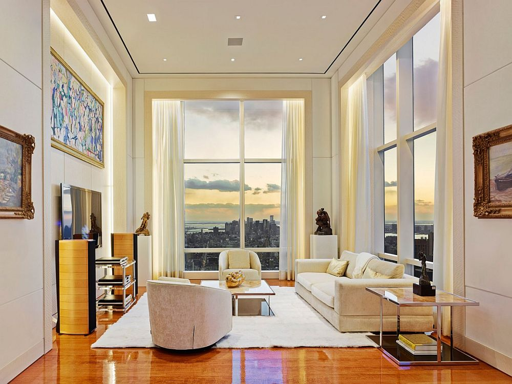 Amazing view of new york city skyline and the un headquarters from the posh apartment