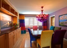 Astounding and fun combination of colors in the inimitable dining room