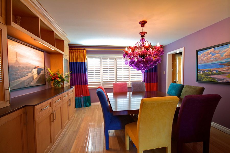 Astounding and fun combination of colors in the inimitable dining room [Design: Avalon Interiors]