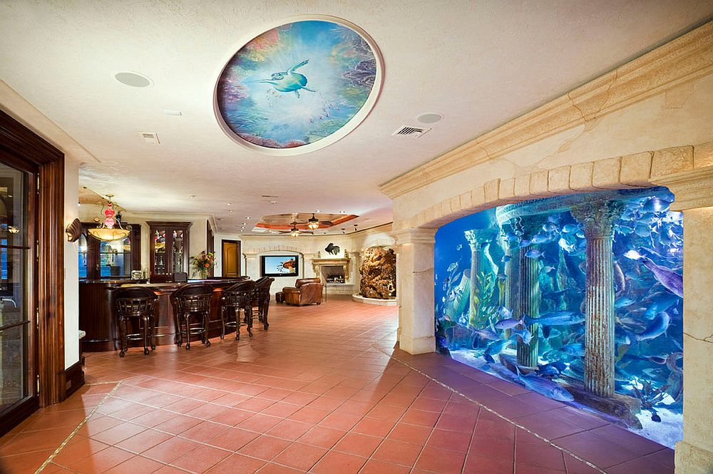 Awesome aquarium is the showstopper in this expansive basement [Design: Electronics Design Group]