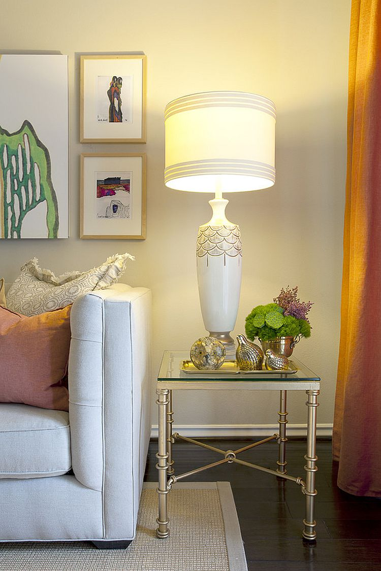 view in gallery base of the table lamp must be on par with your eye level when you sit - Side Tables For Living Room
