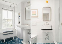 Bathroom floor tiles add blue brilliance to a whirte setting