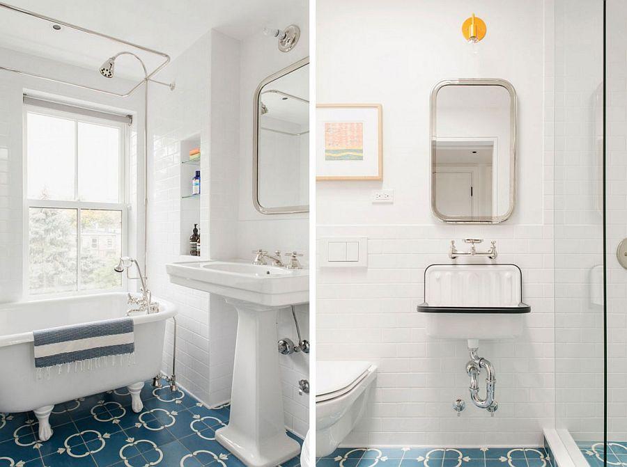 Bathroom floor tiles add blue brilliance to a whirte setting