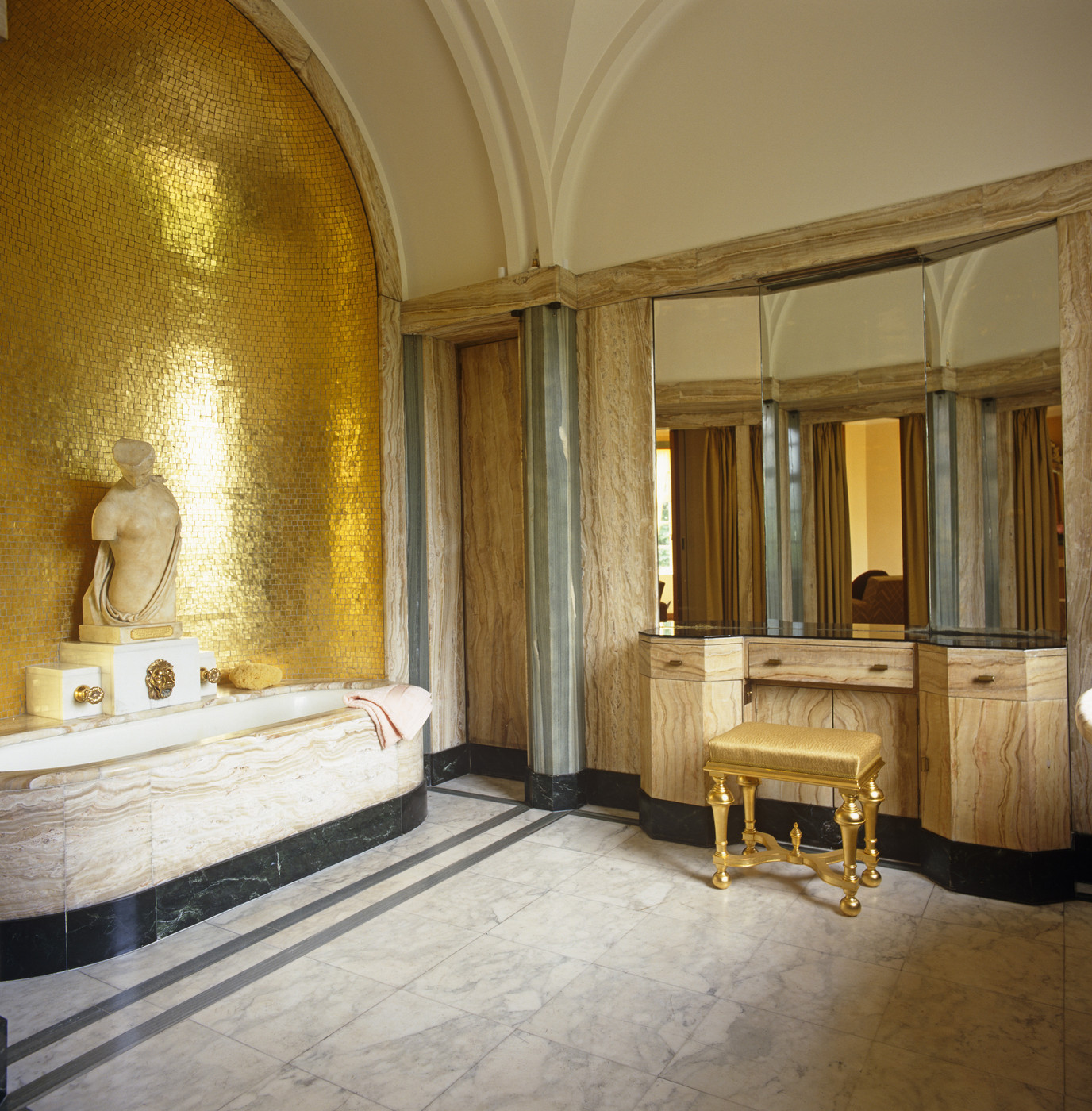 view in gallery bathroom vanity with a gold stool