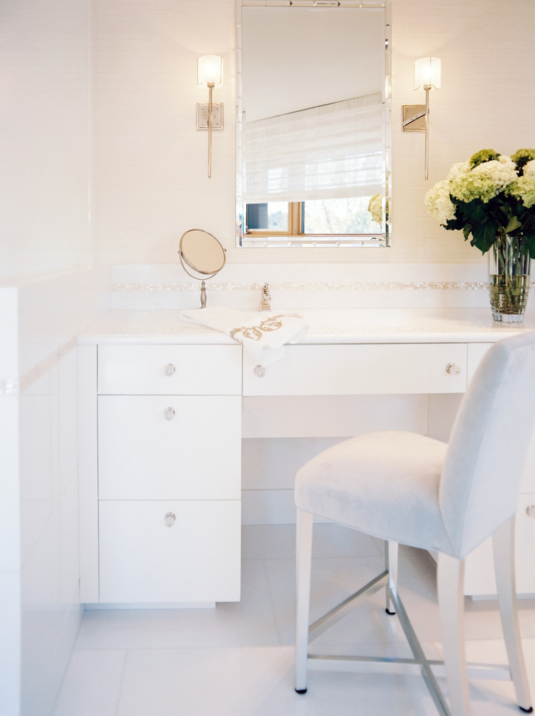 Bathroom vanity with comfy seating