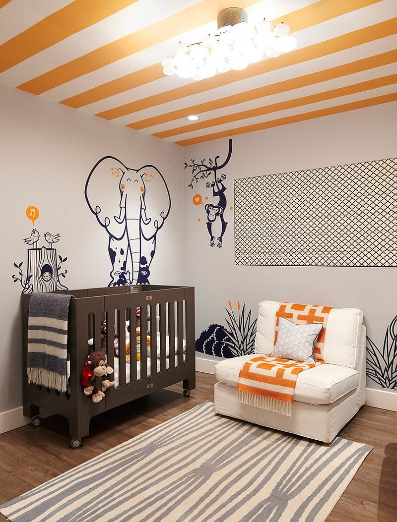 Beach style nursery with striped ceiling [Design: Erinn V Design Group]