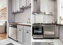 Black and white geometric tiles in the crisp modern kitchen
