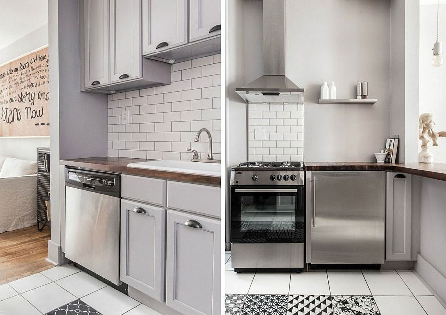 Black and white geometric tiles in the crisp modern kitchen