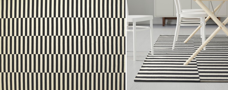 Black and white striped rug from IKEA