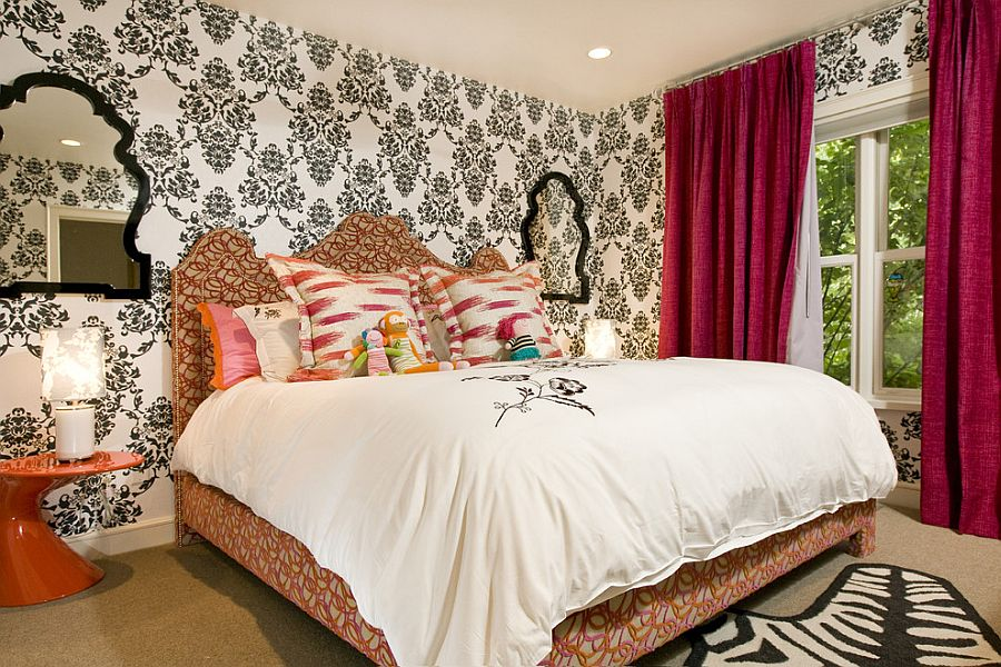 25 victorian bedrooms ranging from classic to modern for Black white damask wallpaper mural