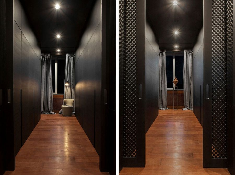 Black is the color of choice inside this posh Kiev apartment