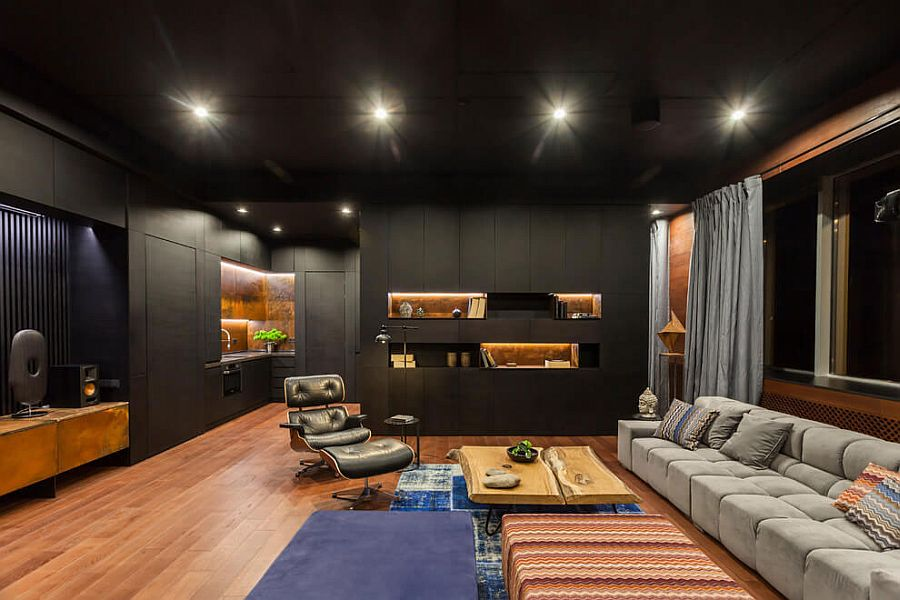 Black is the dominant hue in this living space