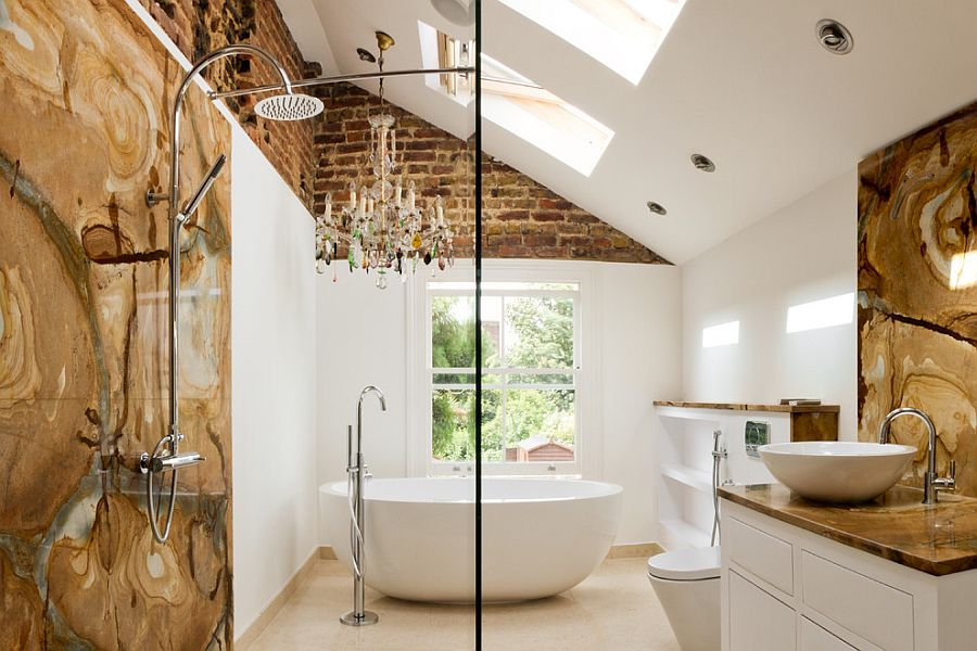 Blend of traditional and modern in the eclectic bathroom with skylights [Design: Tyrrell and Laing International]