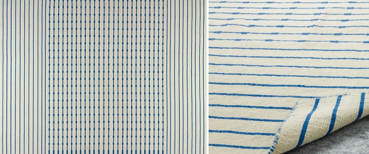 Blue and cream woven rug from IKEA