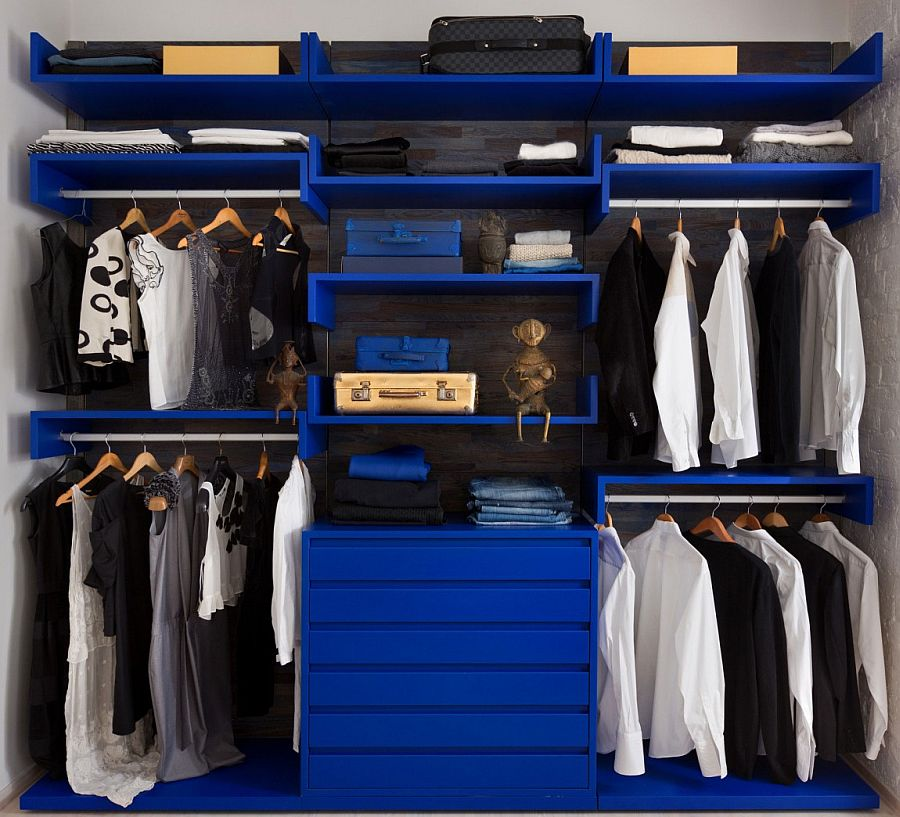 Blue wardrobe in the bedroom with open design