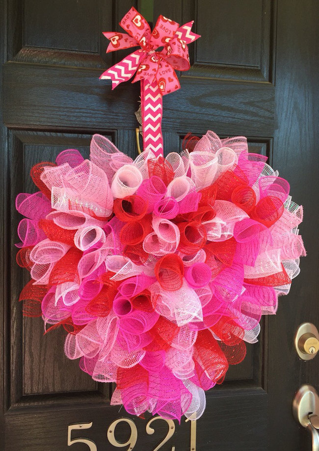 Bright red and pink Valentine's Day mesh wreath