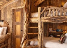 Bunk beds for the kids' room combine rustic warmth with space-savvy design