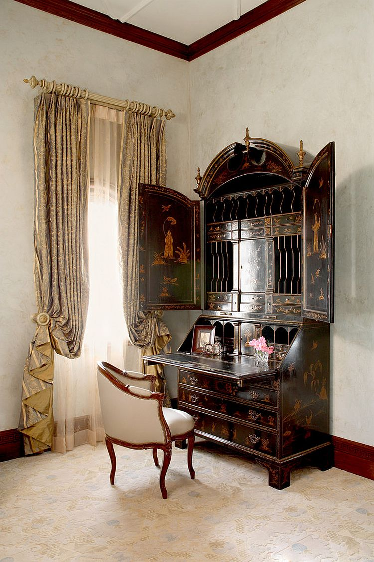 Burton Ching secretary desk adds Victorian flair to the bedroom [Design: Cravotta Interiors]