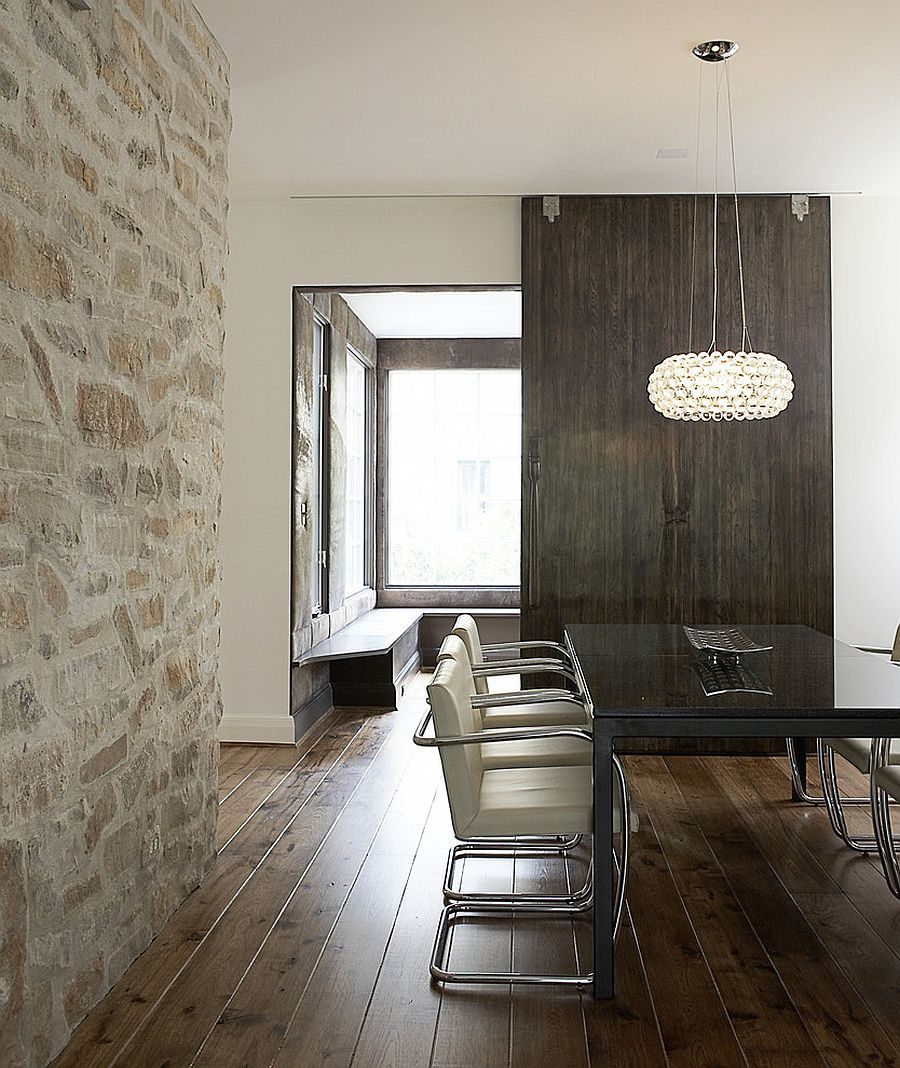 15 gorgeous dining rooms with stone walls for Wall designs for dining area