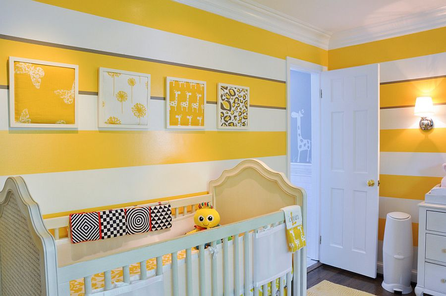 Cheerful nursery with bright yellow and white stripes on the wall [Design: CM Glover]
