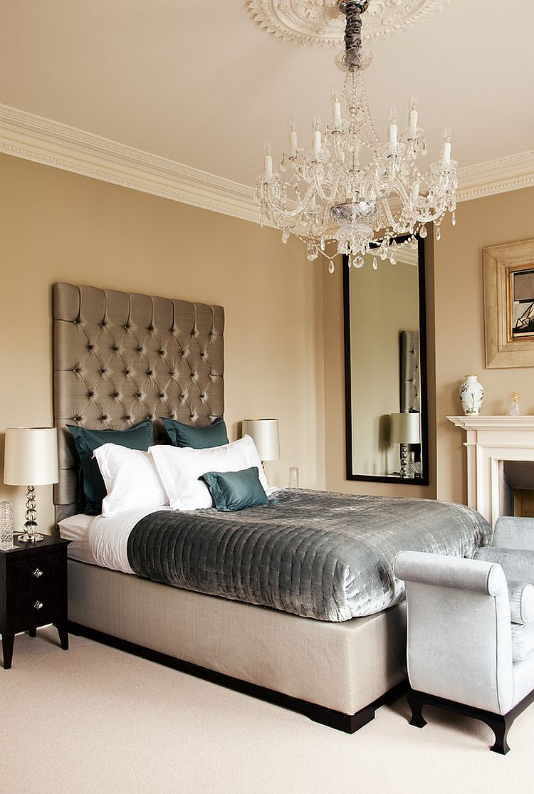 clarance chandelier adds traditional panache to the bedroom from paul craig photography - Traditional Modern Bedroom Ideas