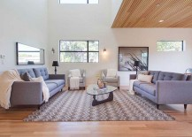 Classic Noguchi coffee table sits at the heart of the living room