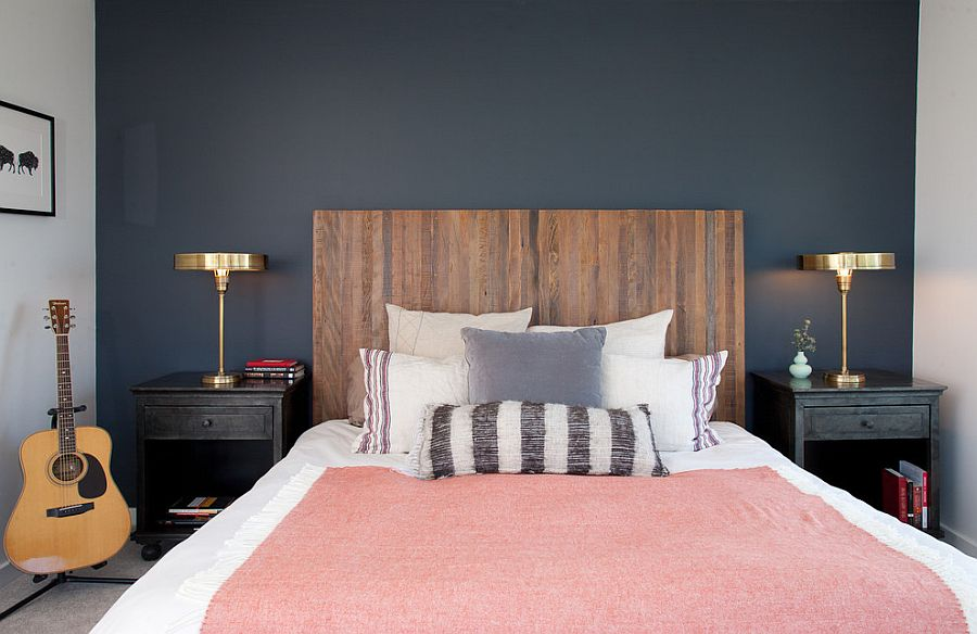 Clean modern bedroom with table lamps that usher in the metallic magic! [Design: Geremia Design]