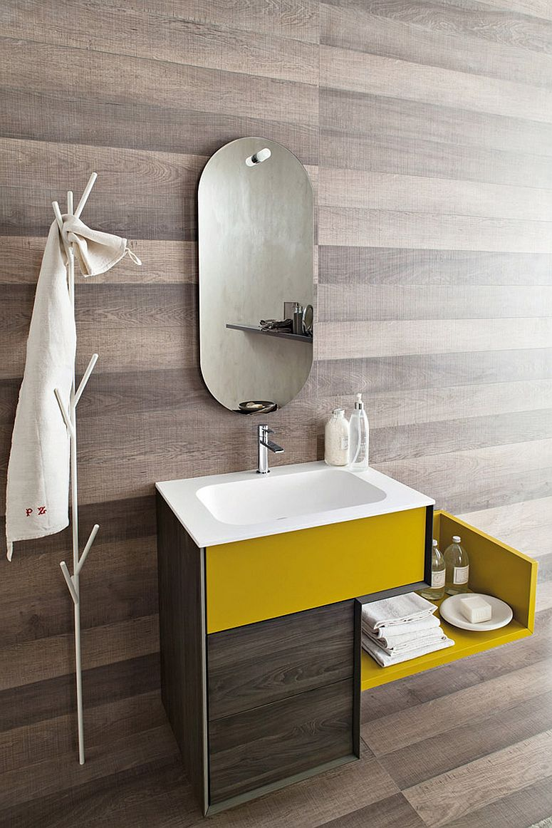 Closer look at the bright yellow vanity with sleek Italian style