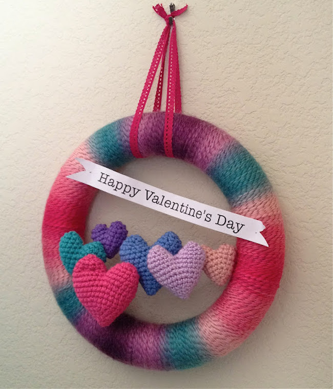 Colorful Valentine's Day wreath made from yarn