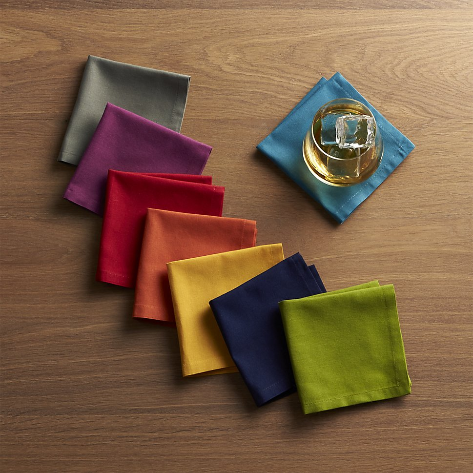 Colorful cocktail napkins from Crate & Barrel
