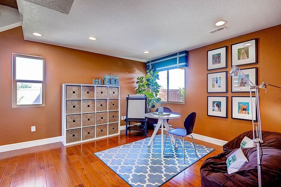 Colors used in the transitional home office allow it to easily transform into a fun playroom