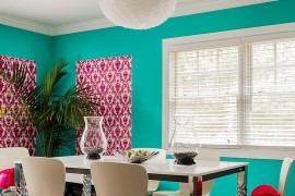 Combine lovely hues with snazzy patterns for a bold, eclectic dining room