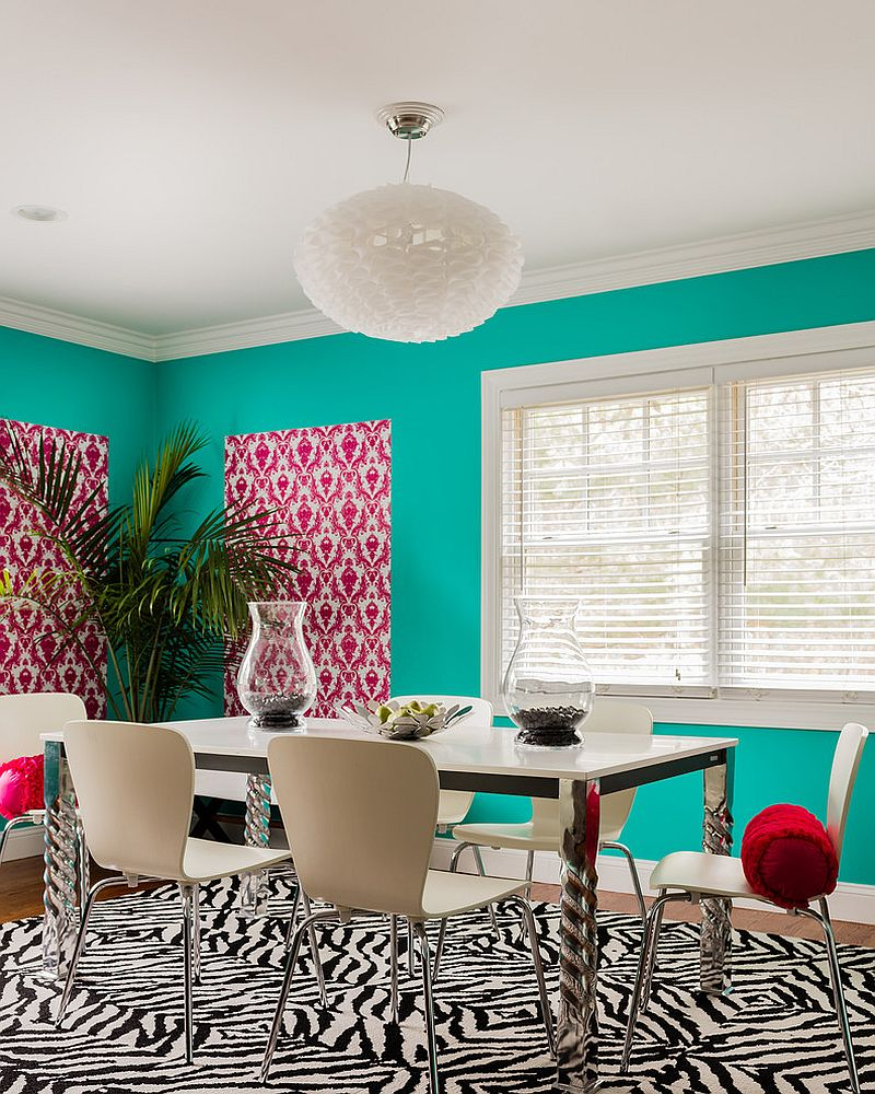 Combine lovely hues with snazzy patterns for a bold, eclectic dining room [Design: Laurie Gorelick Interiors]