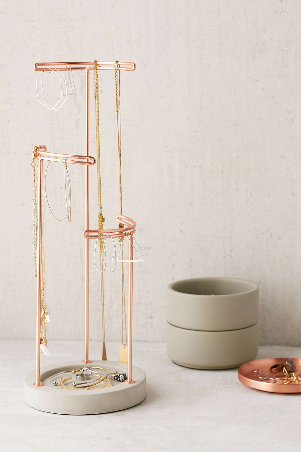 Concrete and metal jewelry stand from Urban Outfitters
