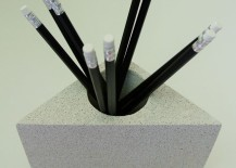Concrete pencil holder