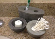 Concrete toothbrush holder and matching bowls 217x155 Cool Concrete Accessory Ideas