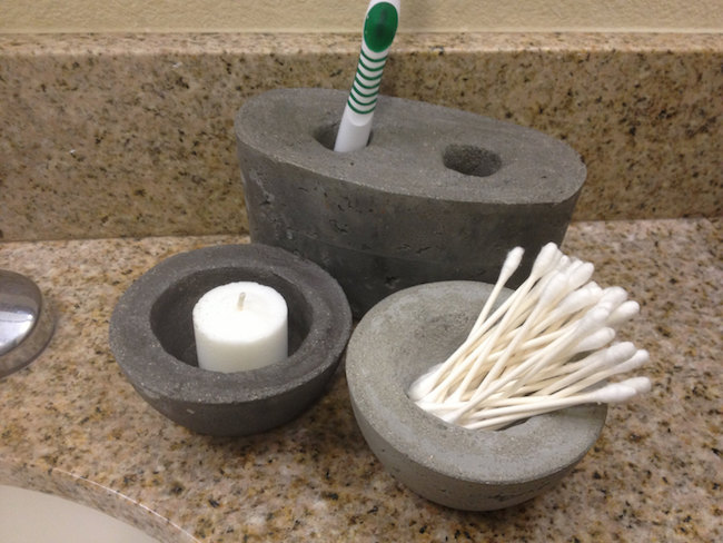 Concrete toothbrush holder and matching bowls