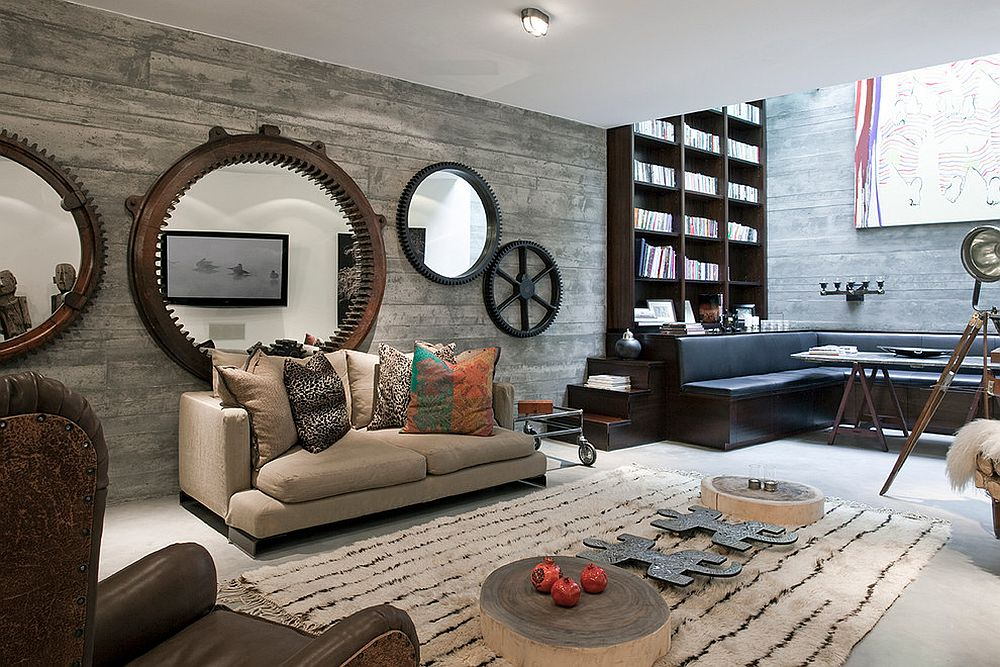 Contemporary London basement with fabulous Antique Wheels Mirrors and shuttered concrete walls [Design: Shalini Misra]