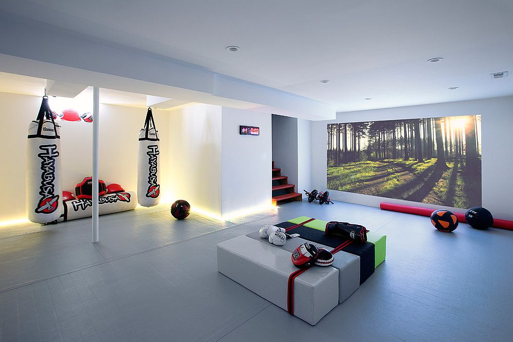 Contemporary basement workout zone looks simply stunning! [Design: cezign]
