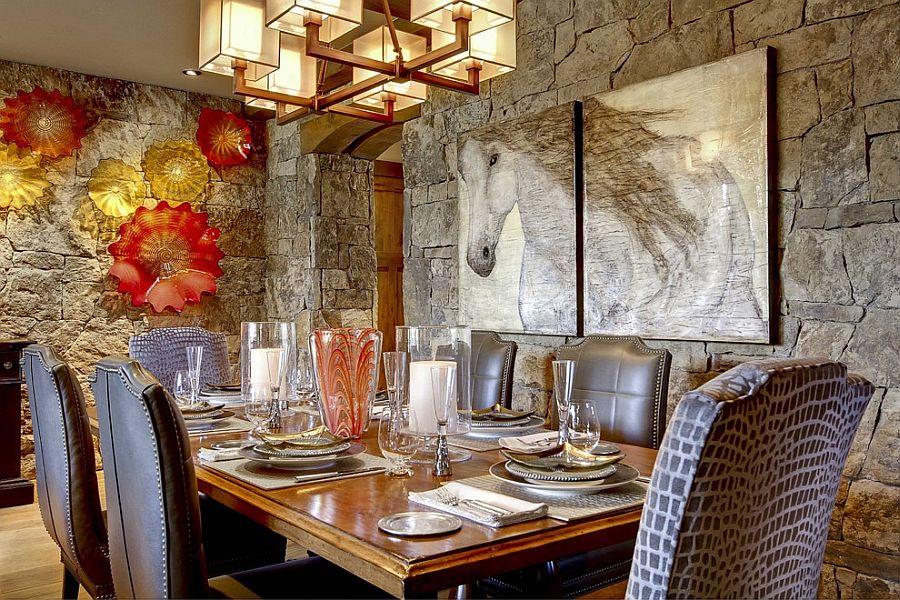 Contemporary dining room with rustic stone walls [Design: Slifer Designs]