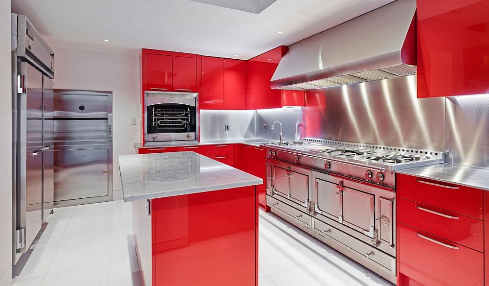 Contemporary kitchen with a splash of red