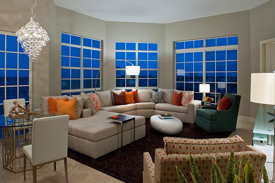 Contemporary living room combines multiple sources of illumination [Design: Garrison Hullinger Interiors]