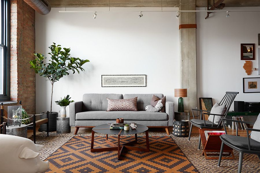 Contemporary living room with industrial and scandinavian touches design jen talbot design