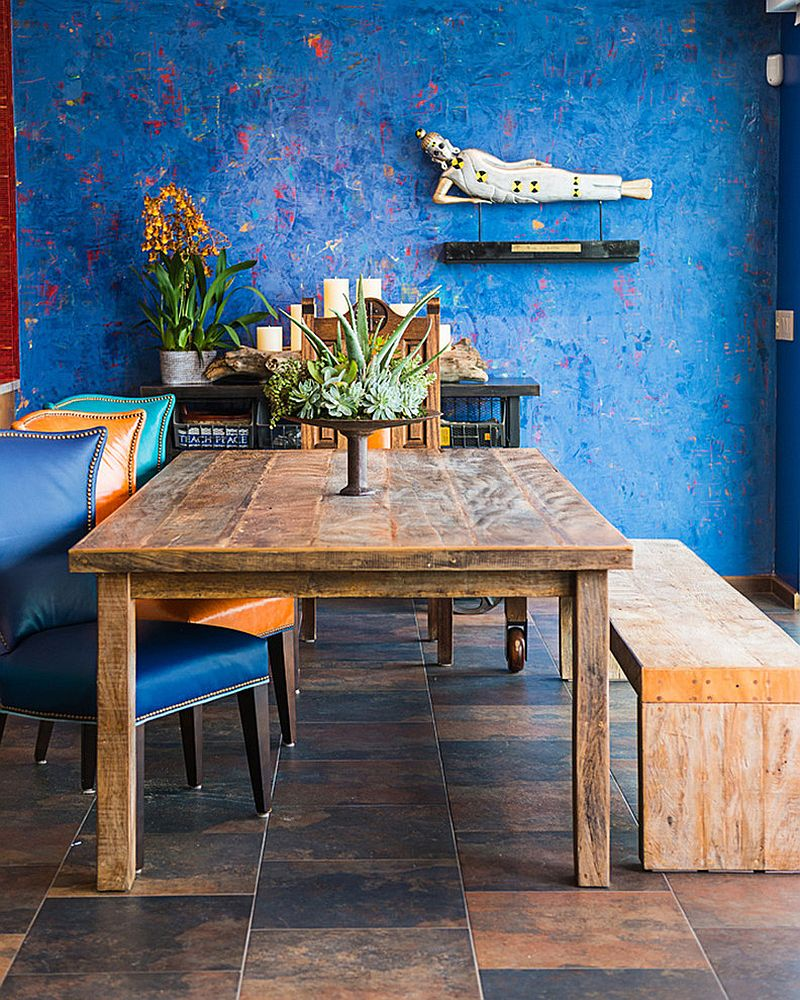 Cool blue textured wall is the showstopper in this relaxing, casual dining room [Design: 1 Man of the Cloth]