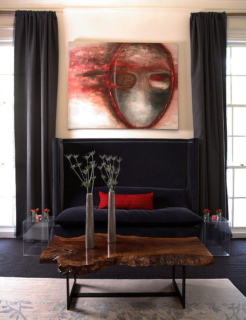 Cool live edge coffee table becomes a fun focal point in the contemporary living room [Design: Dillard Pierce Design Associates]
